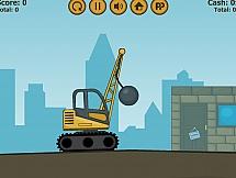Кран с ядром для разрушения города